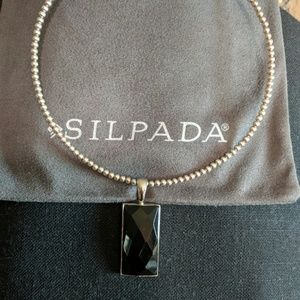 Silpada Black onyx Faceted pendant only. S1252